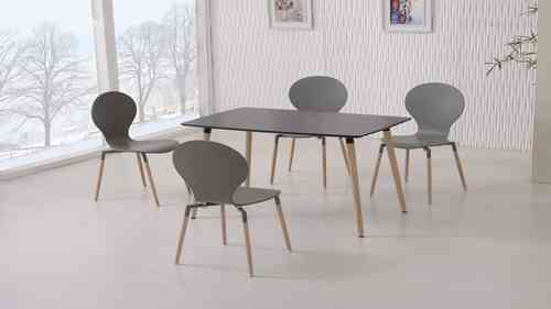 Black Dining Table and 4 Grey Chairs