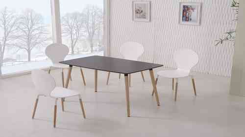 Black Dining Table and 4 White Chairs