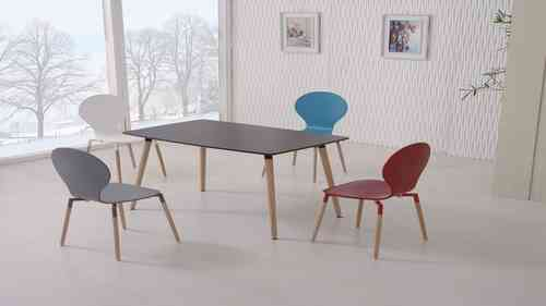Black Dining Table and 4 Mix Colour Chairs