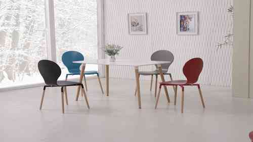 White Dining Table and Mix Colour Chairs