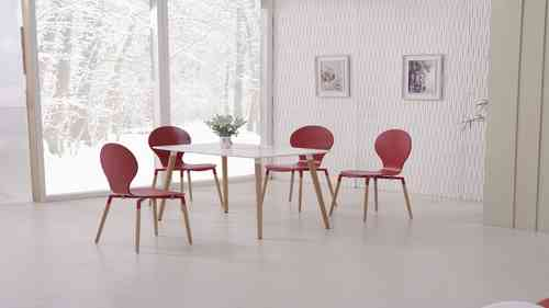 White Dining Table and Red Chairs