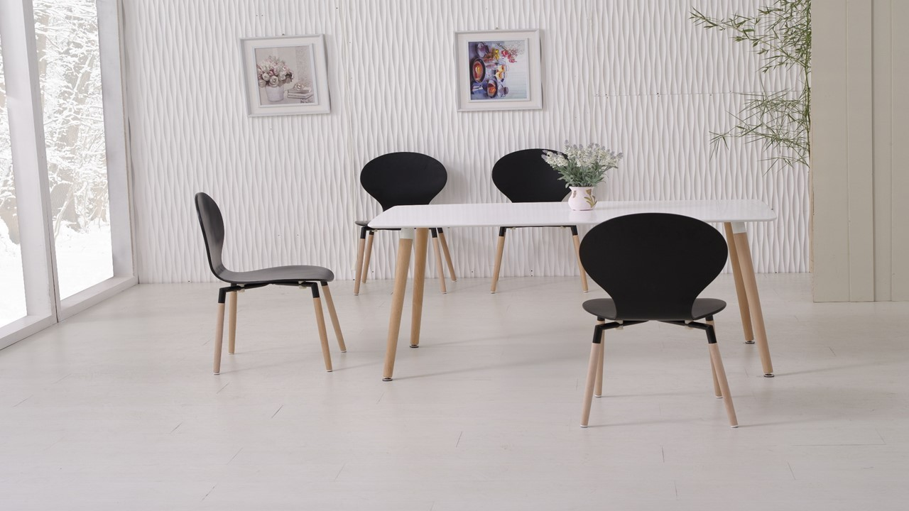 White dining table and 6 black chairs homegenies for White dining table and 6 chairs