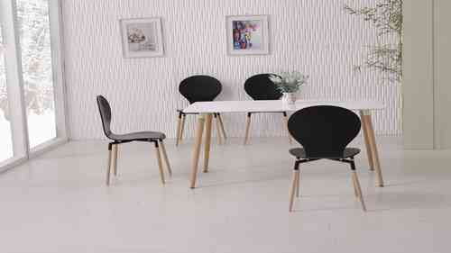 White Dining Table and 6 Black Chairs