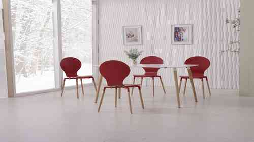 White Dining Table and 6 Red Chairs