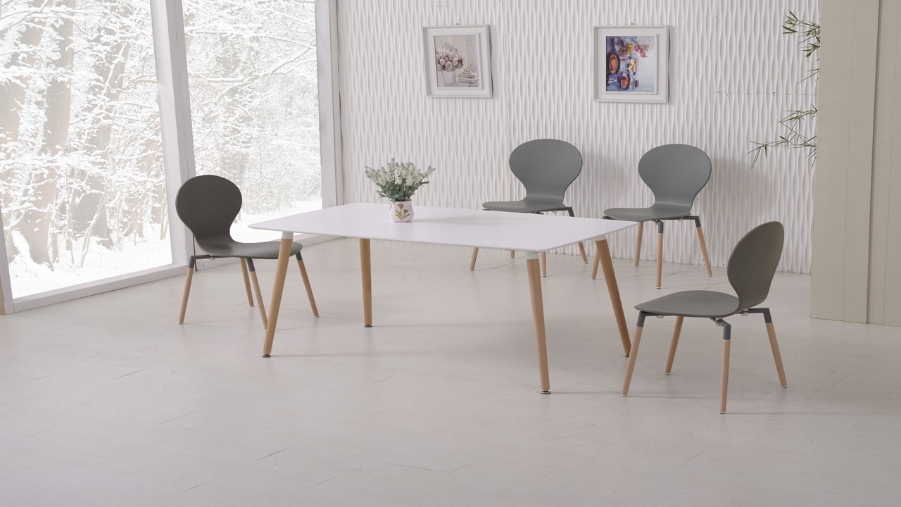 White dining table and 6 grey chairs