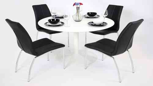 White Gloss Dining Table and 4 Black Chairs