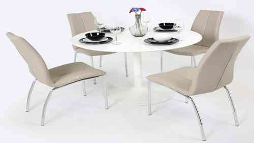 White Gloss Dining Table and 4 Mink Grey Chairs