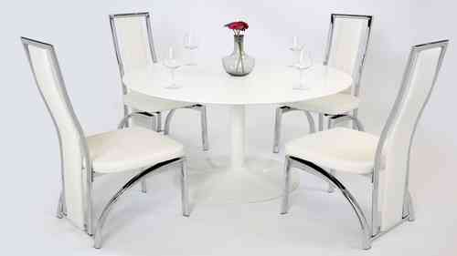 White Gloss Dining Table and 4 Chairs