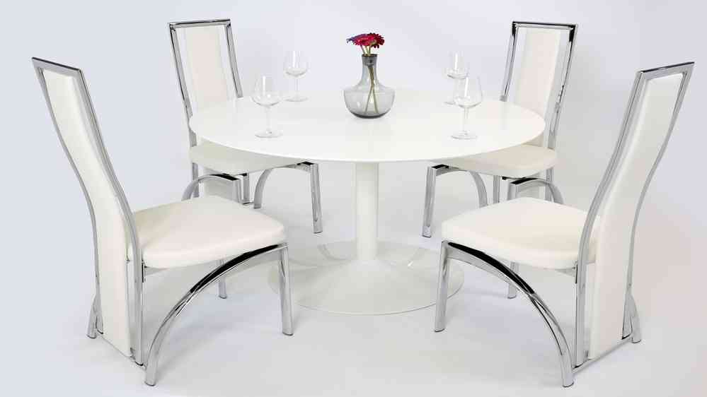 Beau White Gloss Dining Table And 4 Chairs
