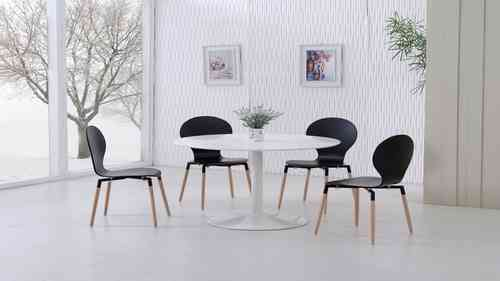 White Gloss Dining Table and 4 Black Pu Chairs