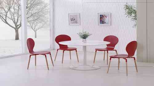 White Gloss Dining Table and 4 Red Pu Chairs