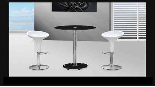 Black Glass Bar Table and Stools
