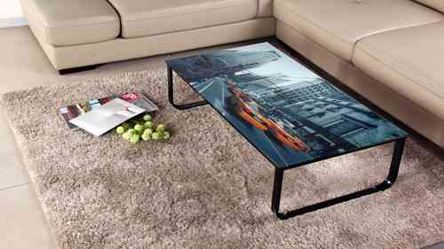 Glass Coffee Table with Image