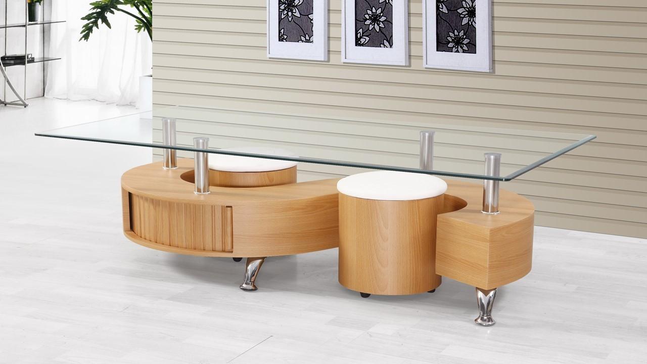 S Shaped Beechwood Glass Coffee Table Homegenies