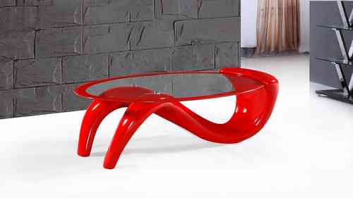 Red High Gloss Clear Glass Coffee Table