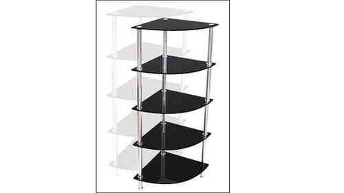 Corner Black Glass Stand - 5 Tier