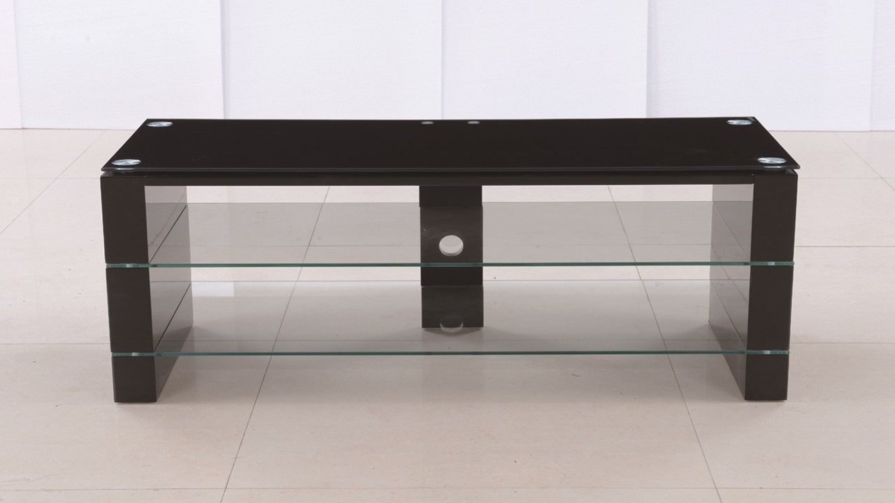 black glass high gloss tv stand unit  homegenies - black glass high gloss tv stand unit