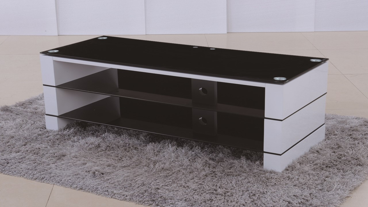 tv stand in white high gloss black glass  homegenies - tv stand in white high gloss black glass