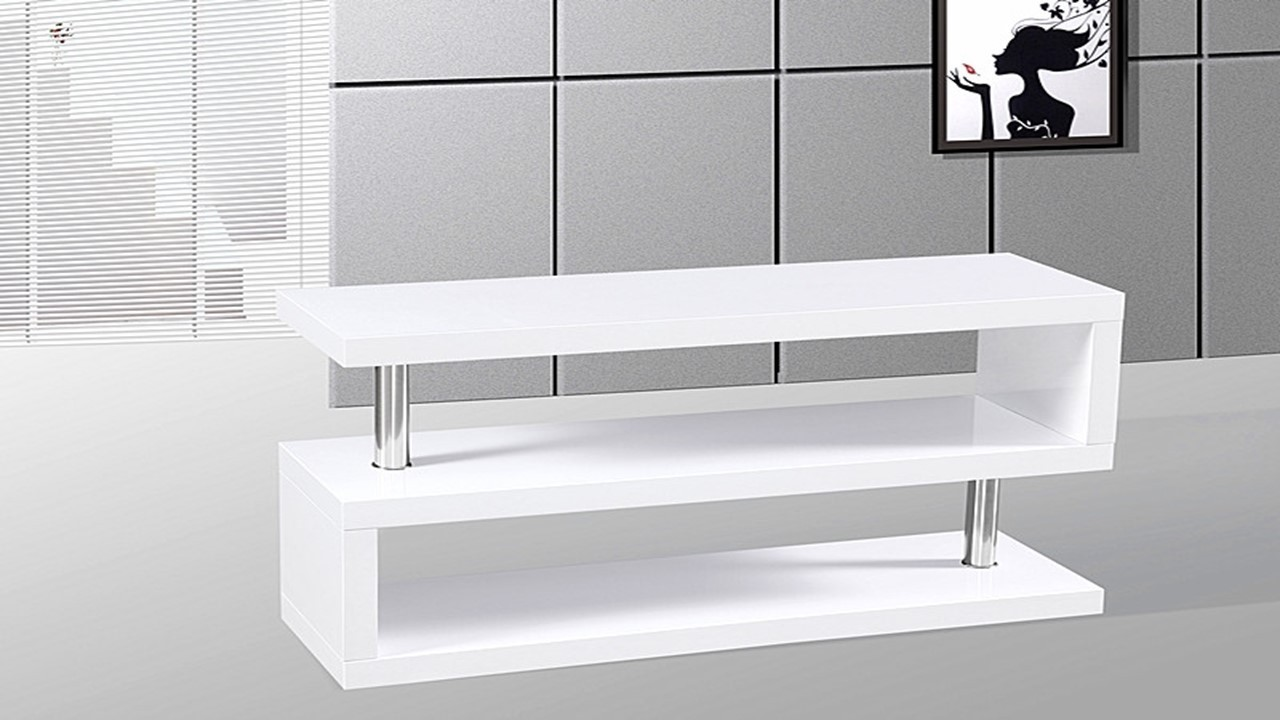 Tv Stand Unit In White High Gloss Homegenies