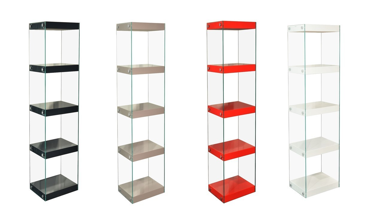 Glass Shelving Unit Black White Red Grey High Gloss Shelves