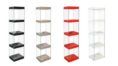 Glass Shelving Unit Black, White, Red, Grey High Gloss Shelves Chrome