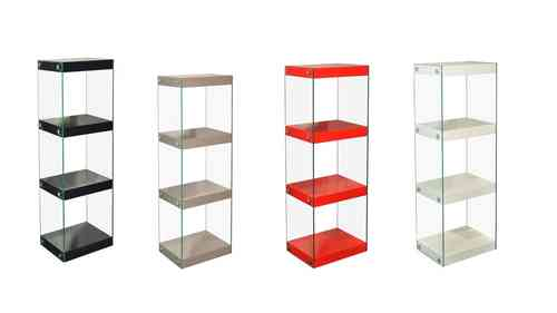 Medium Glass Shelving Unit Black, White, Red, Grey, Gloss Shelves with Chrome