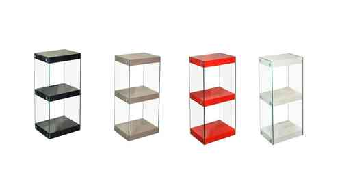 Small Glass Shelving Unit Black, White, Red, Grey, Gloss Shelves with Chrome