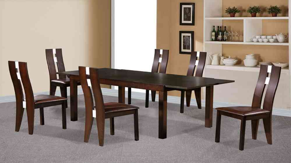 Beechwood Dining Table And 6 Chairs Dark Walnut