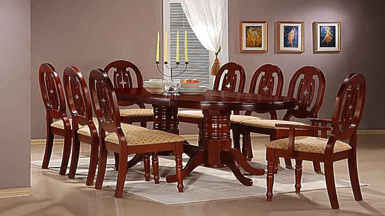 Mahogany dining table with 6 chairs and 2 carvers homegenies for 8 seater dining room table and chairs
