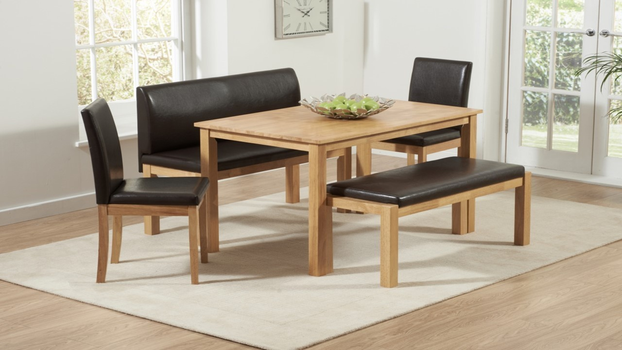 Wooden Dining Table And Chairs Bench Set Homegenies