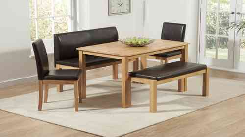 Wooden Dining Table and Chairs Bench Set