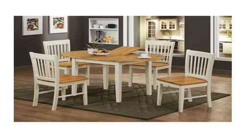 Wooden White Legs Dining Table and 4 Chairs
