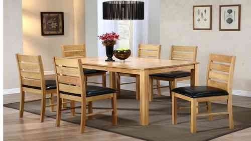 Dining Table and 6 Chairs Rubber Wood