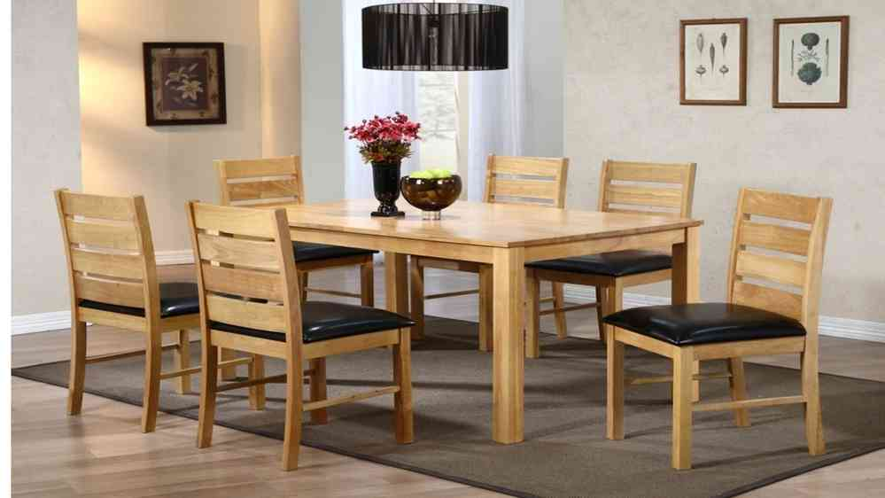 dining table and 6 chairs rubber wood homegenies