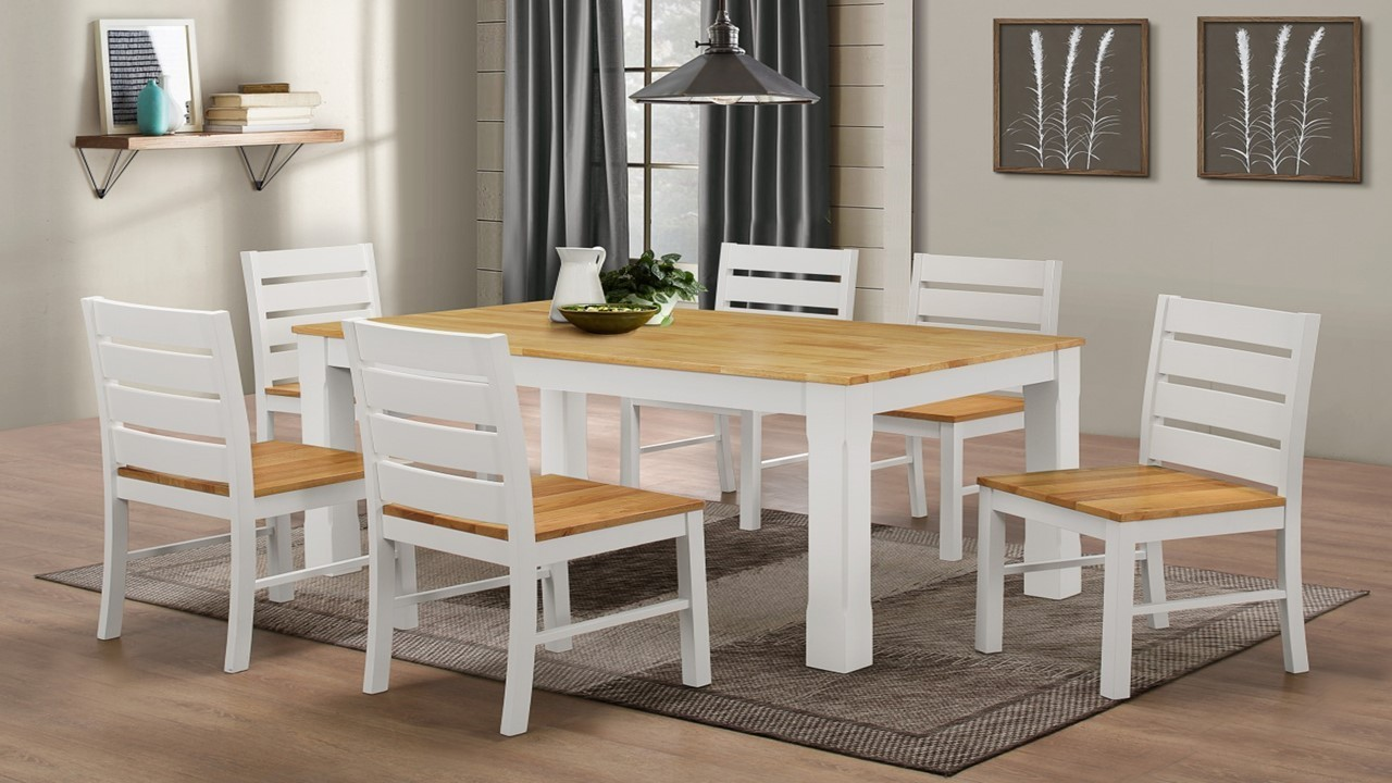 White Rubber Wood Dining Table And 6 Chairs Homegenies