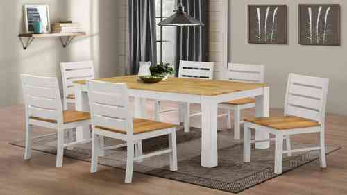 White Rubber Wood Dining Table and 6 Chairs