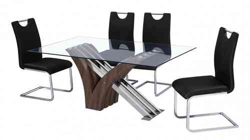 Glass Dining Table and 6 Chairs Walnut and Chrome