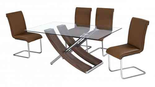 Walnut and Glass Dining Table with 6 Chairs
