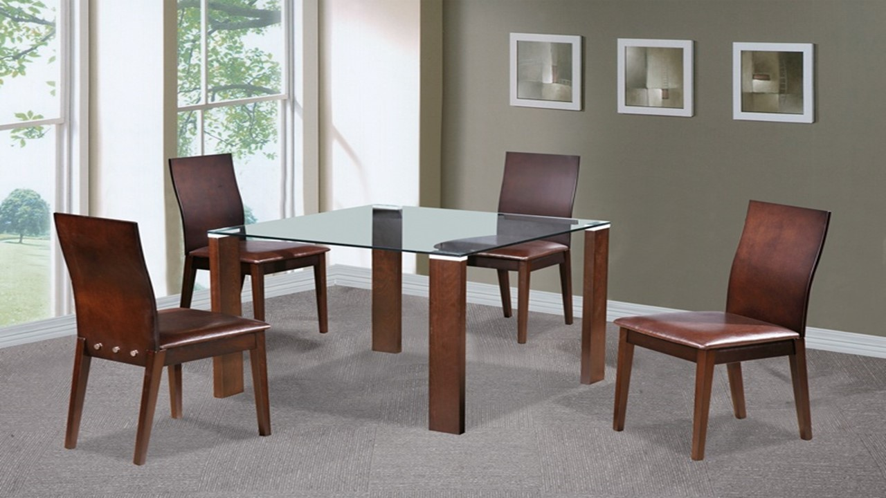 beech walnut glass dining table and 4 chairs homegenies. Black Bedroom Furniture Sets. Home Design Ideas