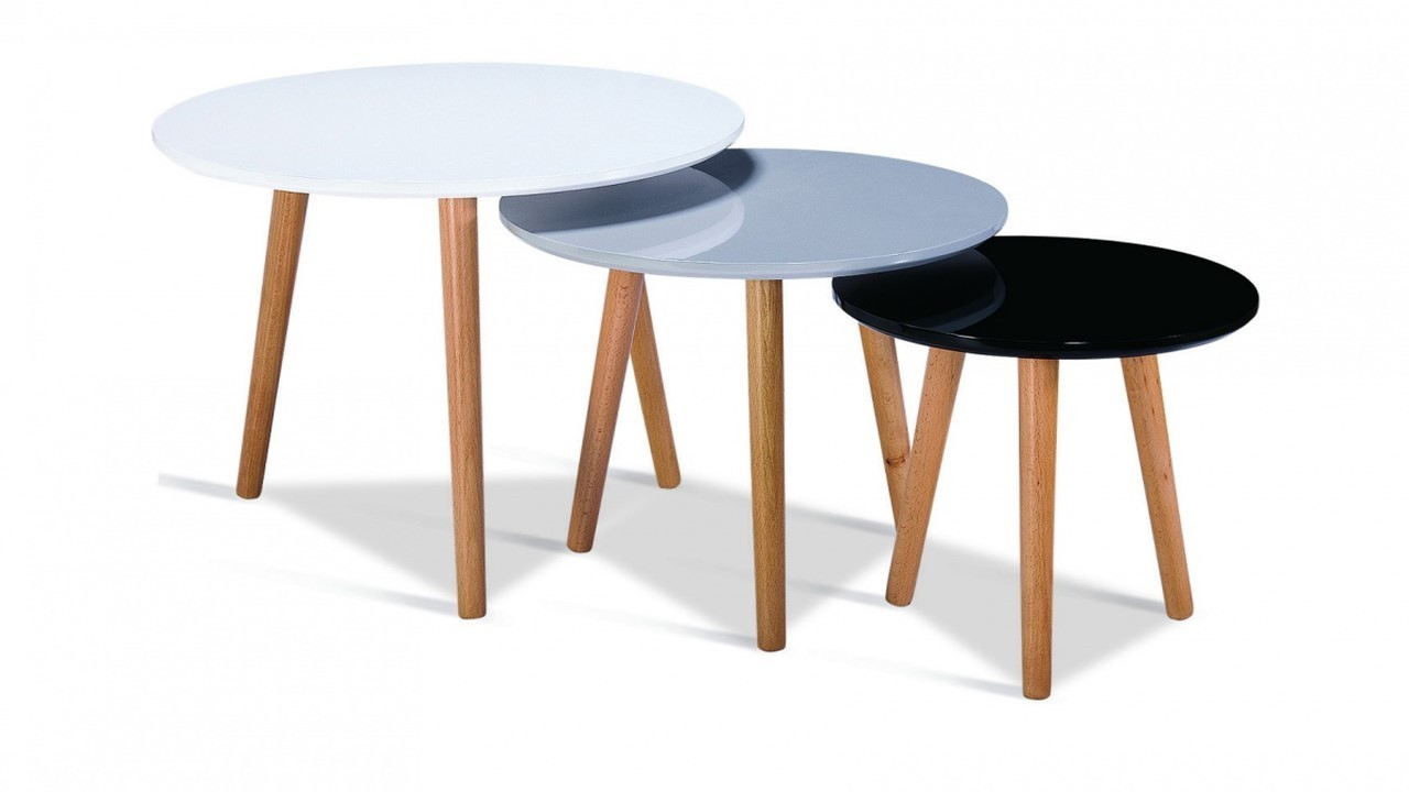 High Gloss White Black Grey Round Nest Of Tables