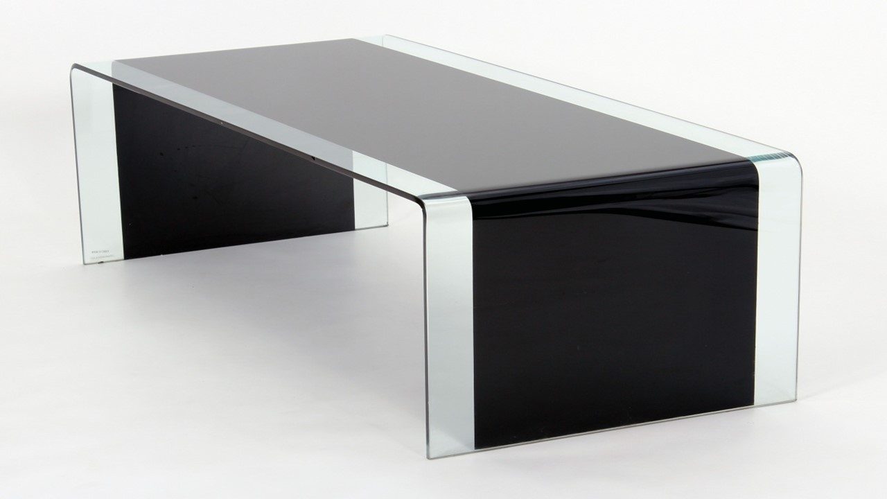 Curved Black Glass Coffee Table Lamp Table Nest Of Tables