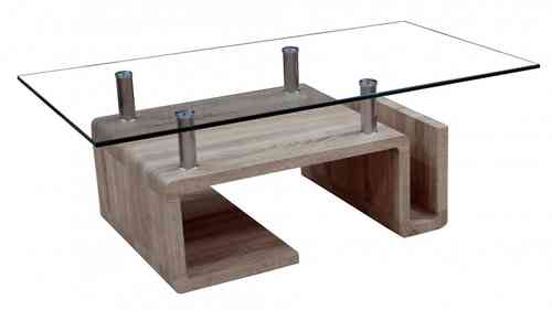 Glass Coffee Table Veneer Shaped Base