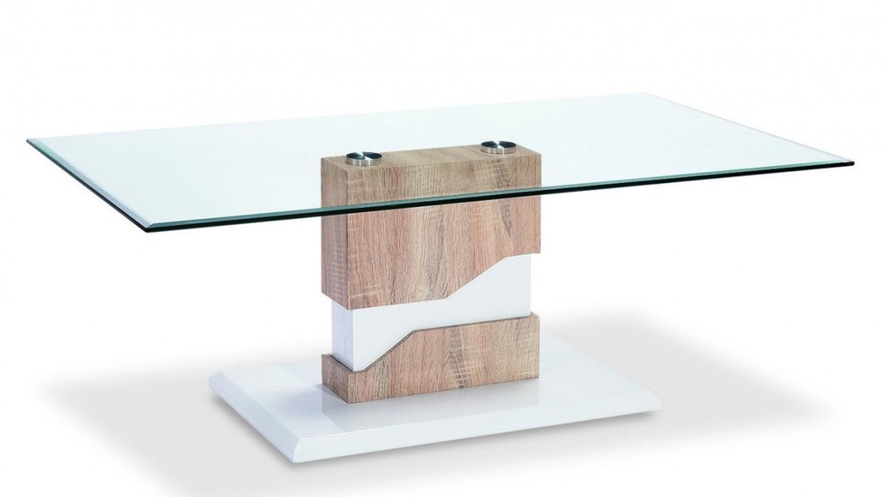 Coffee Table Glass White High Gloss Wood Veneer Homegenies