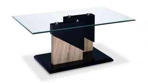 Glass Black High Gloss Wood Veneer coffee table