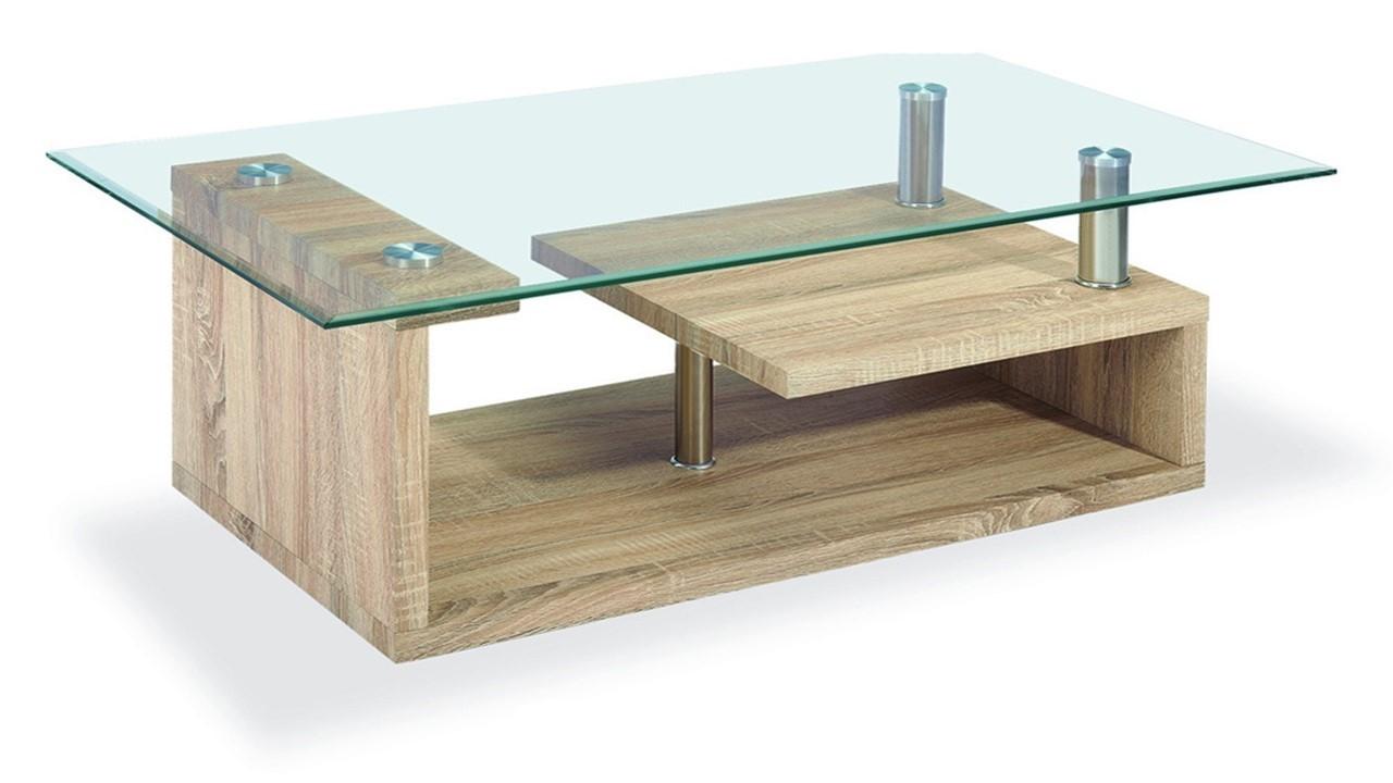 Clear Glass Coffee Table Wood Veneer Base Homegenies