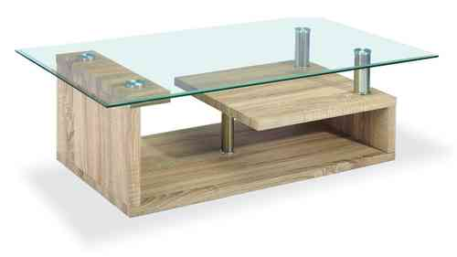 Clear Glass Coffee Table Wood Veneer Base