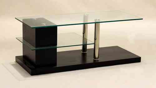 Glass TV unit Wood Veneer Base