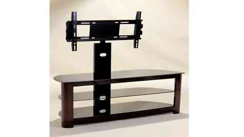 Black Glass Tv Unit with Wood Veneer Base