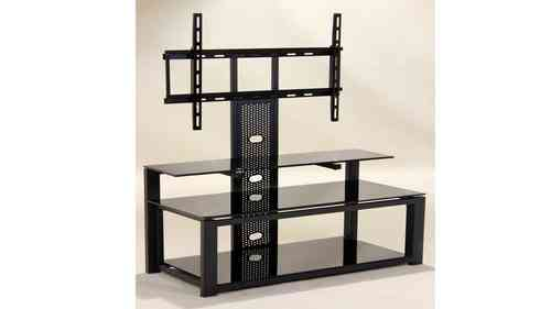 Black glass tv unit with metal frame and 3 Shelves