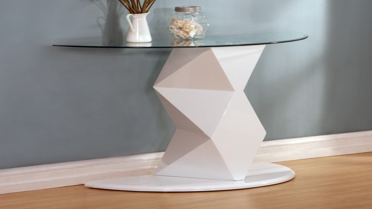 ... White High Gloss Glass Coffee, Side, Console Table ...
